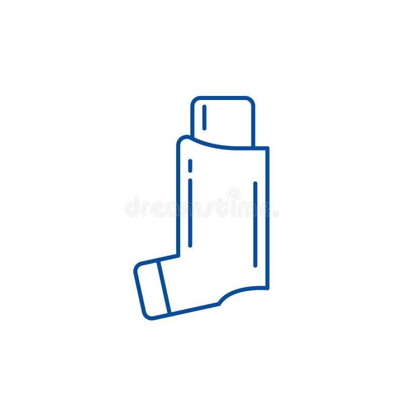 L?nea concepto del asma bronquial del icono S?mbolo plano del vector del asma bronquial, muestra, ejemplo del esquema ilustración del vector