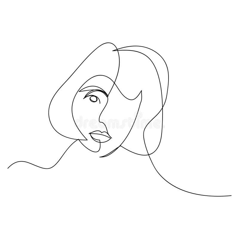 L?nea continua, dibujo de caras determinadas y peinado, concepto de la moda, belleza minimalista, ejemplo de la mujer del vector  imagen de archivo libre de regalías