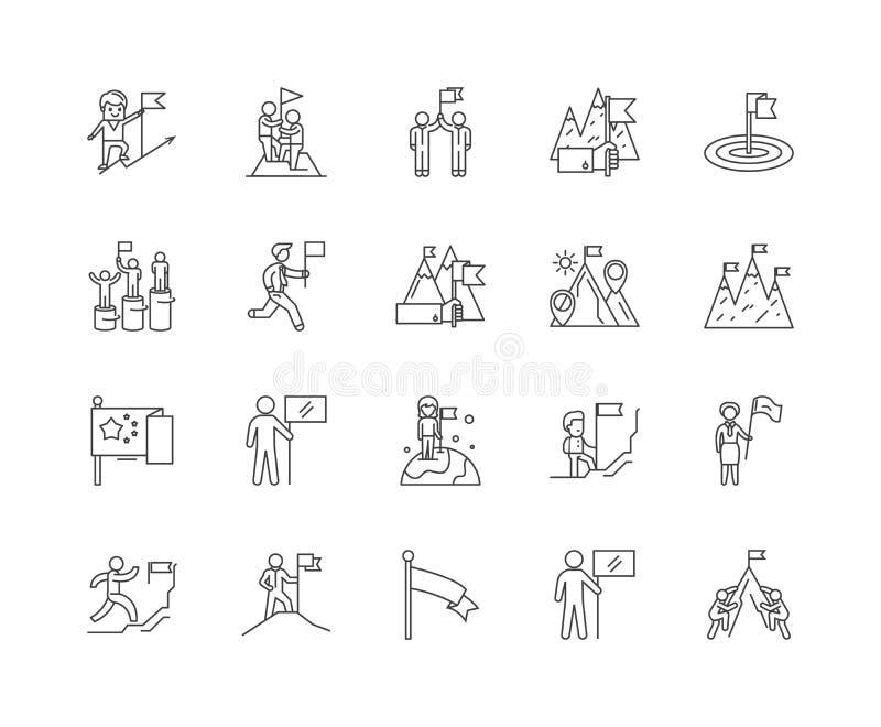 L?nea de banderas iconos, muestras, sistema del vector, concepto del ejemplo del esquema ilustración del vector