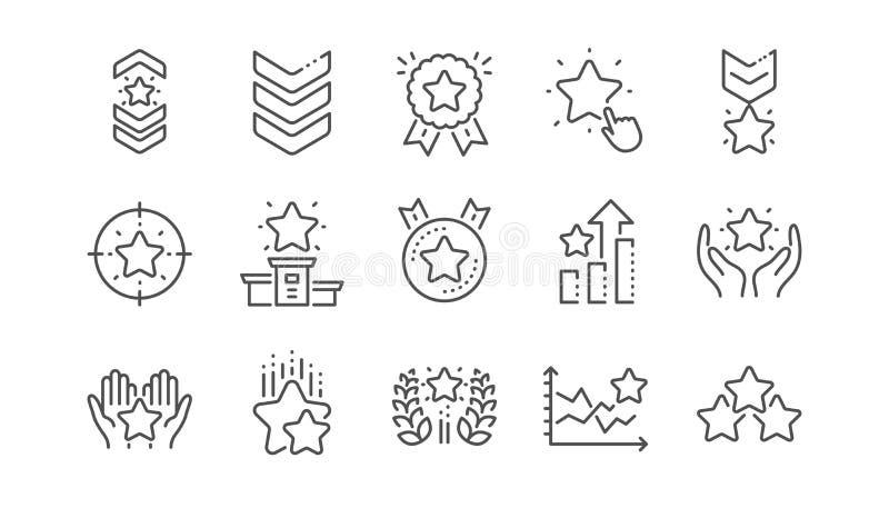 L?nea de clasificaci?n iconos Primer lugar, grado de la estrella y medalla del ganador Sistema linear Vector ilustración del vector