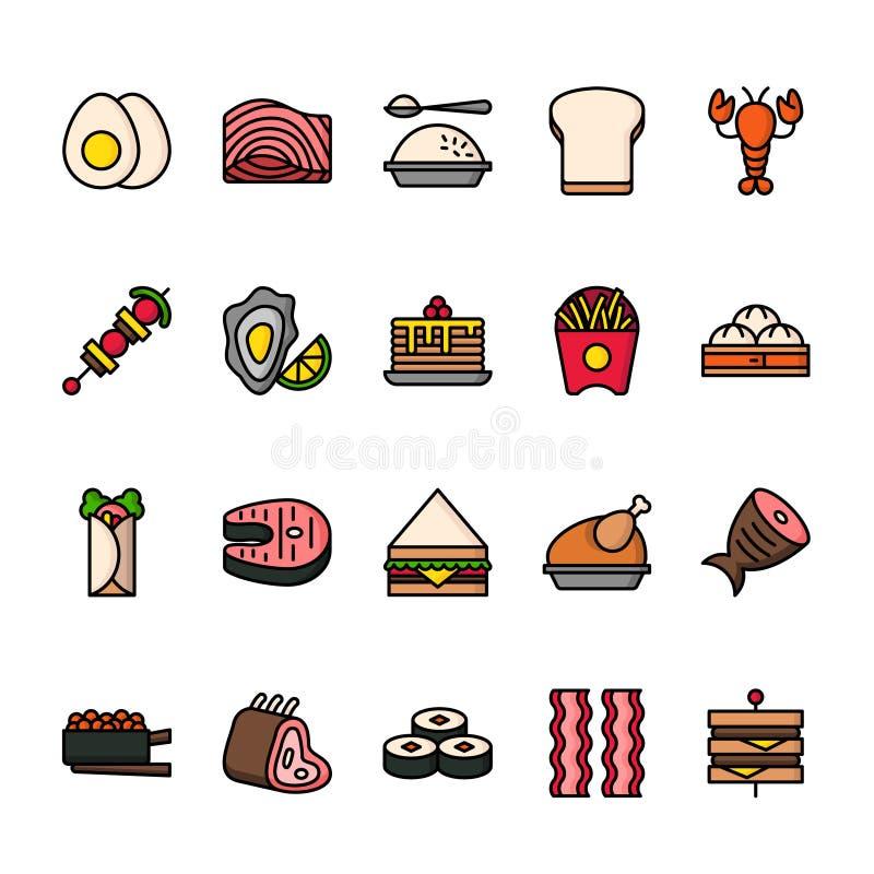 L?nea de color sistema del icono de la comida Iconos perfectos del pixel stock de ilustración
