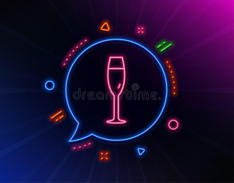 L?nea de cristal icono de Champ?n Muestra de la copa de vino Vector stock de ilustración