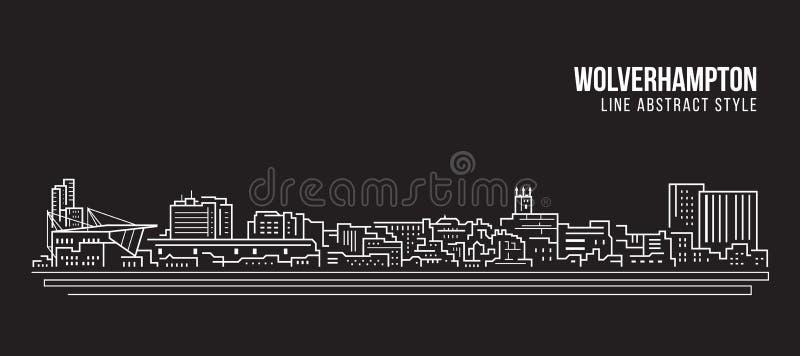 L?nea de fachada del paisaje urbano dise?o del ejemplo del vector del arte - ciudad de Bristol libre illustration