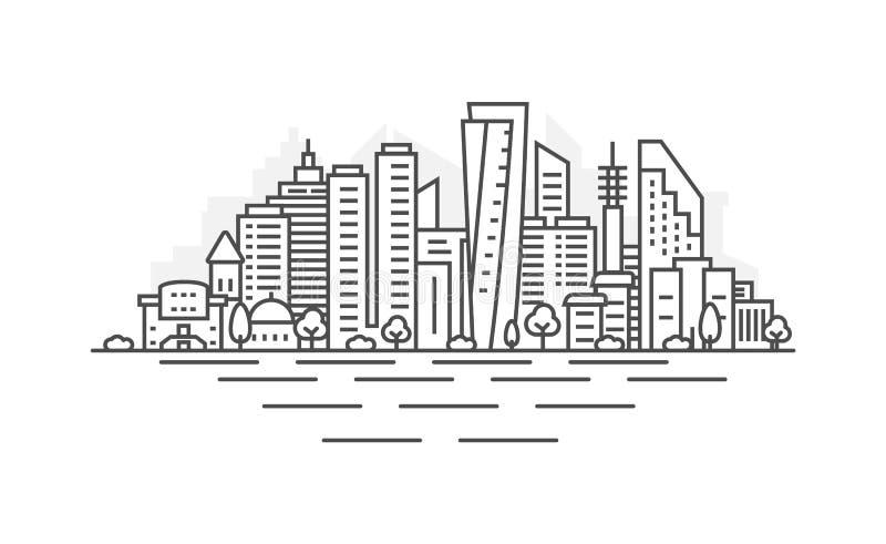 L?nea de fachada del paisaje urbano dise?o del ejemplo del vector del arte - ciudad de Tel Aviv Paisaje con los movimientos edita stock de ilustración
