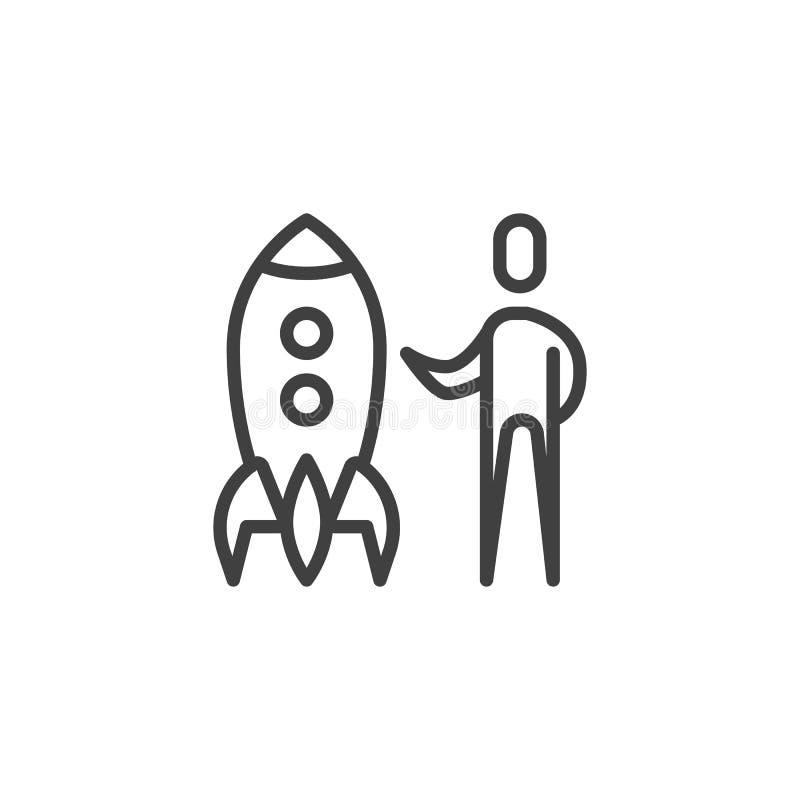 L?nea de lanzamiento icono del negocio stock de ilustración