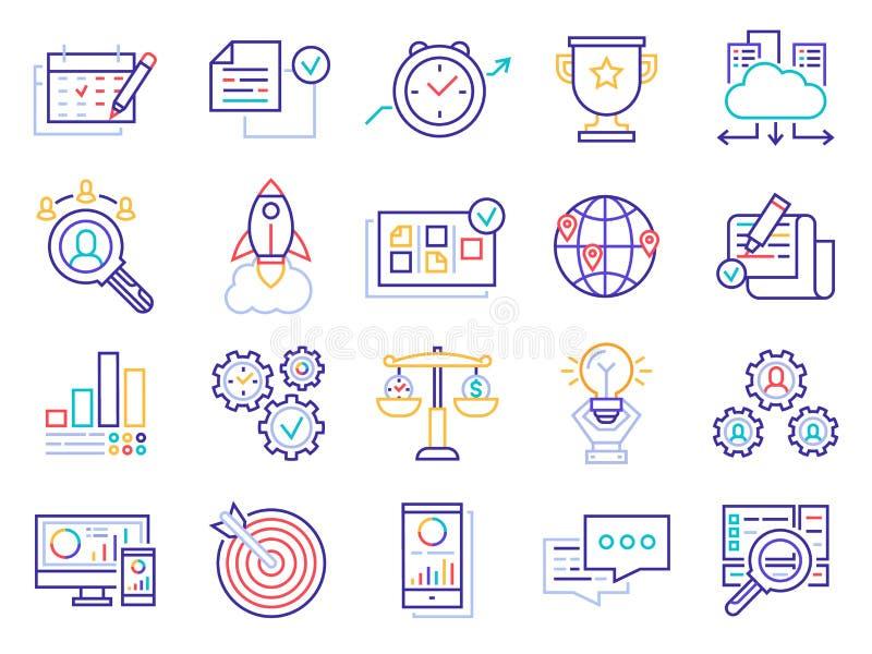 L?nea de negocio iconos Gestión de inversiones del dinero, blanco del proyecto del negocio y sistema del vector del icono del ana ilustración del vector