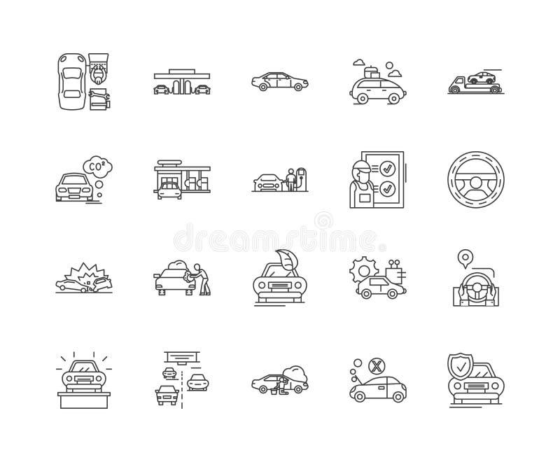 L?nea de renta auto iconos, muestras, sistema del vector, concepto del ejemplo del esquema libre illustration