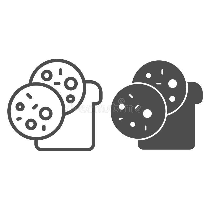 L?nea del bocadillo e icono del glyph Ejemplo del vector del bocado aislado en blanco Diseño del estilo del esquema del pan y de  stock de ilustración