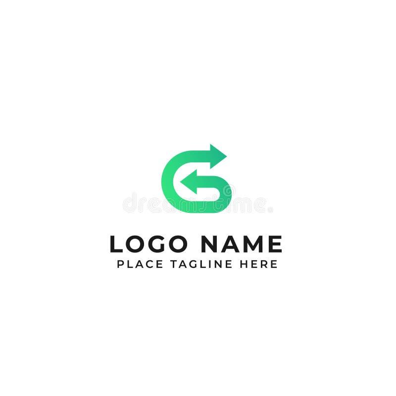 L?nea del dise?o del logotipo de la letra de G con adentro hacia fuera el ejemplo del icono del vector de la flecha stock de ilustración