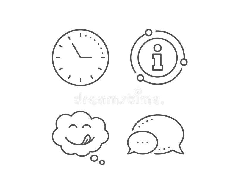 L?nea deliciosa icono de la sonrisa Emoticon con la muestra de la lengua Burbuja c?mica del discurso Vector libre illustration