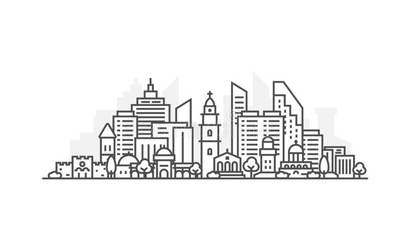L?nea ejemplo de la arquitectura de Israel, Jerusal?n del horizonte Paisaje urbano linear con las se?ales famosas, vistas del vec libre illustration