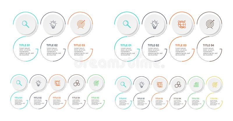 L?nea elemento fina para infographic Plantilla para el diagrama, el gr?fico, la presentaci?n y la carta Concepto con 3, 4, 5, 6 o imagenes de archivo