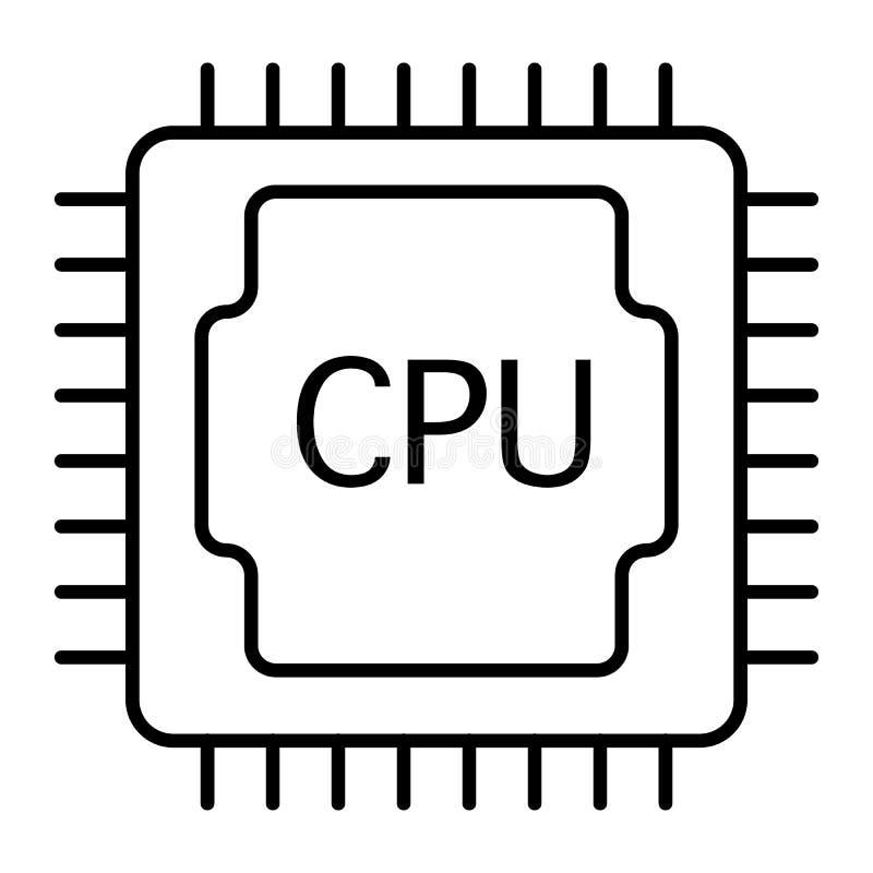 L?nea fina icono de la CPU Ejemplo del procesador aislado en blanco Dise?o del estilo del esquema del microprocesador, dise?ado p stock de ilustración