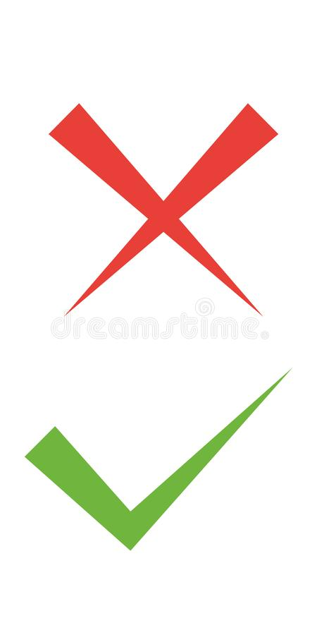 L?nea fina iconos de la marca de verificaci?n L?nea plana iconos de las marcas de cotejo de la se?al verde y de la Cruz Roja fija stock de ilustración