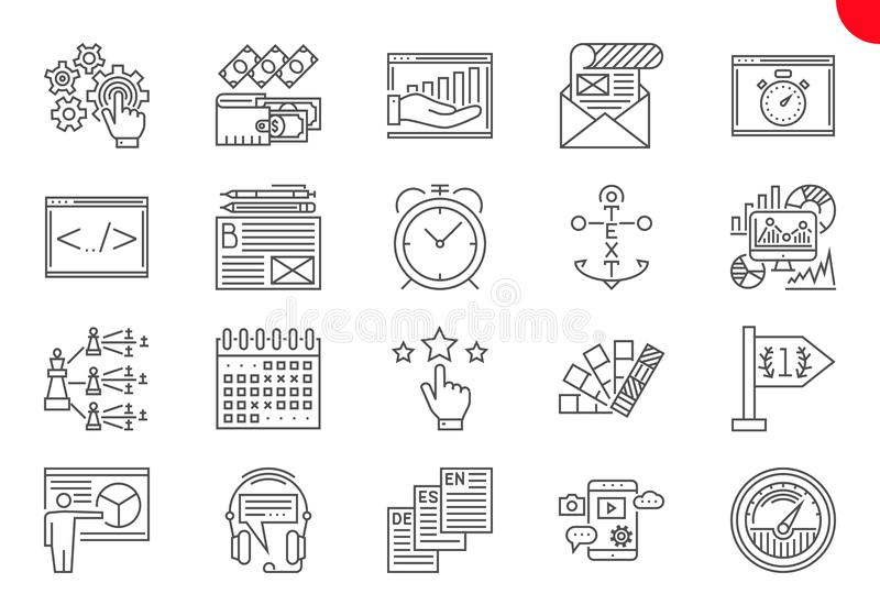 L?nea fina iconos fijados de la optimizaci?n del Search Engine libre illustration