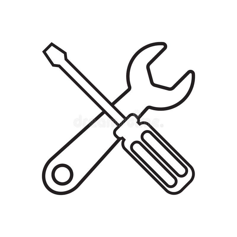 L?nea herramientas del icono stock de ilustración