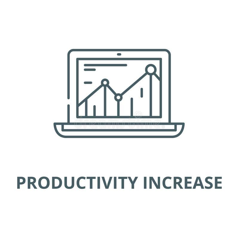 L?nea icono, concepto linear, muestra del esquema, s?mbolo del vector del aumento de productividad ilustración del vector