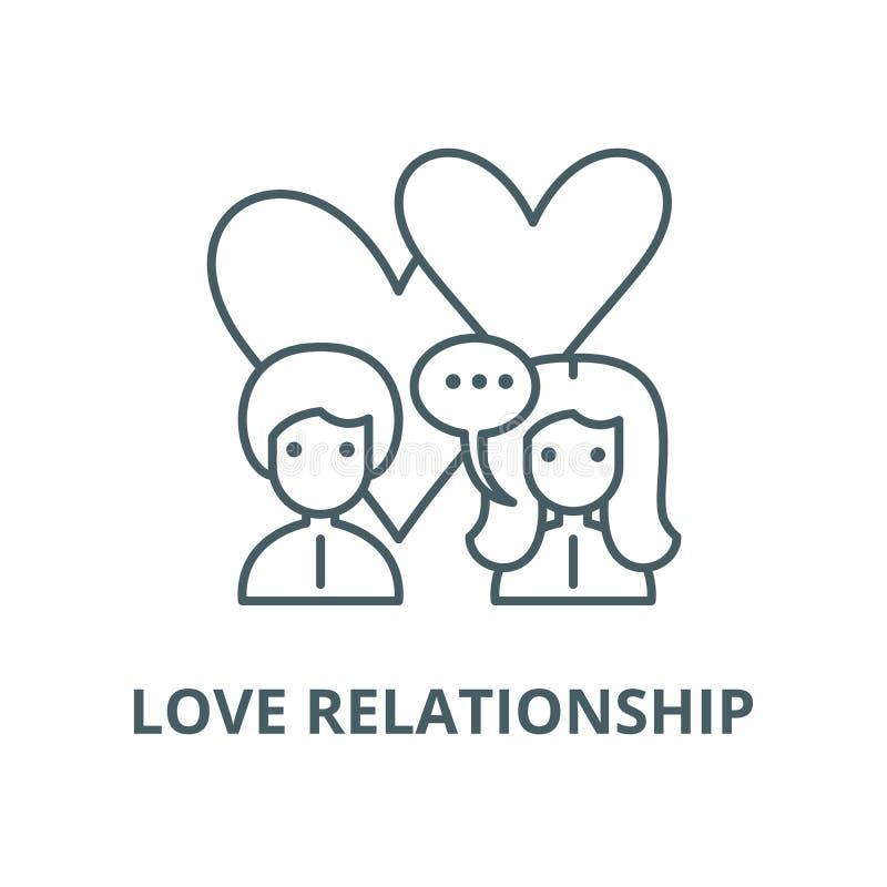 L?nea icono, concepto linear, muestra del esquema, s?mbolo del vector de la relaci?n del amor libre illustration