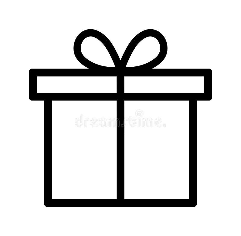 L?nea icono de la caja de regalo stock de ilustración