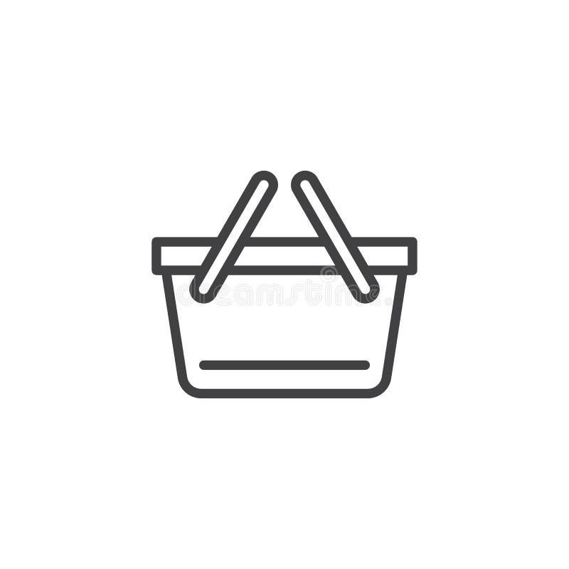 L?nea icono de la cesta de compras libre illustration