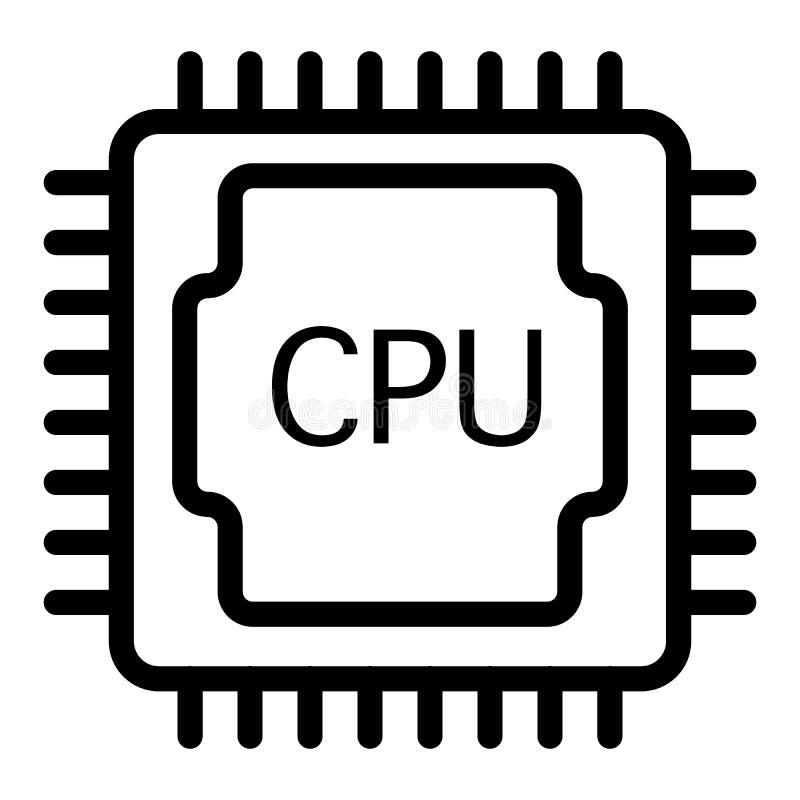 L?nea icono de la CPU Ejemplo del procesador aislado en blanco Dise?o del estilo del esquema del microprocesador, dise?ado para l libre illustration