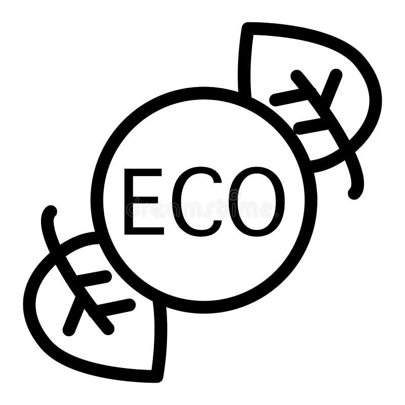 L?nea icono de la etiqueta engomada de Eco Etiqueta de Eco con el ejemplo de las hojas aislado en blanco E ilustración del vector