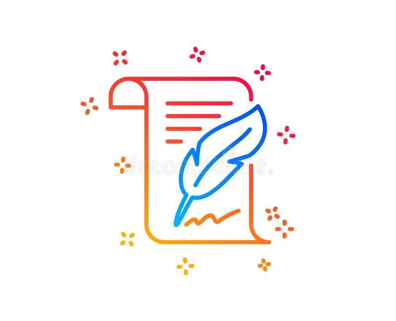 L?nea icono de la firma de la pluma Muestra de Copywriting Vector libre illustration
