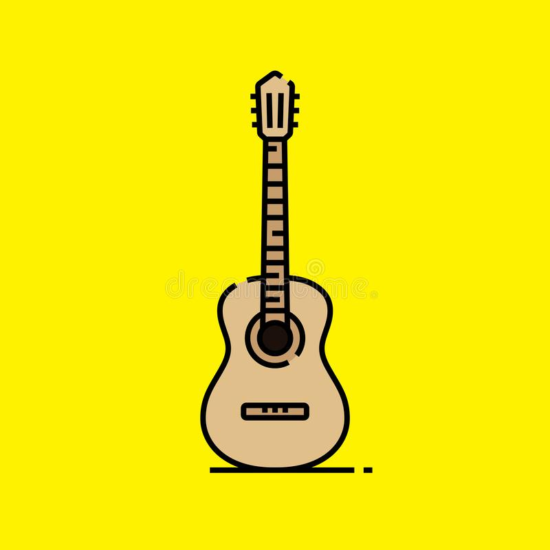 L?nea icono de la guitarra ac?stica ilustración del vector