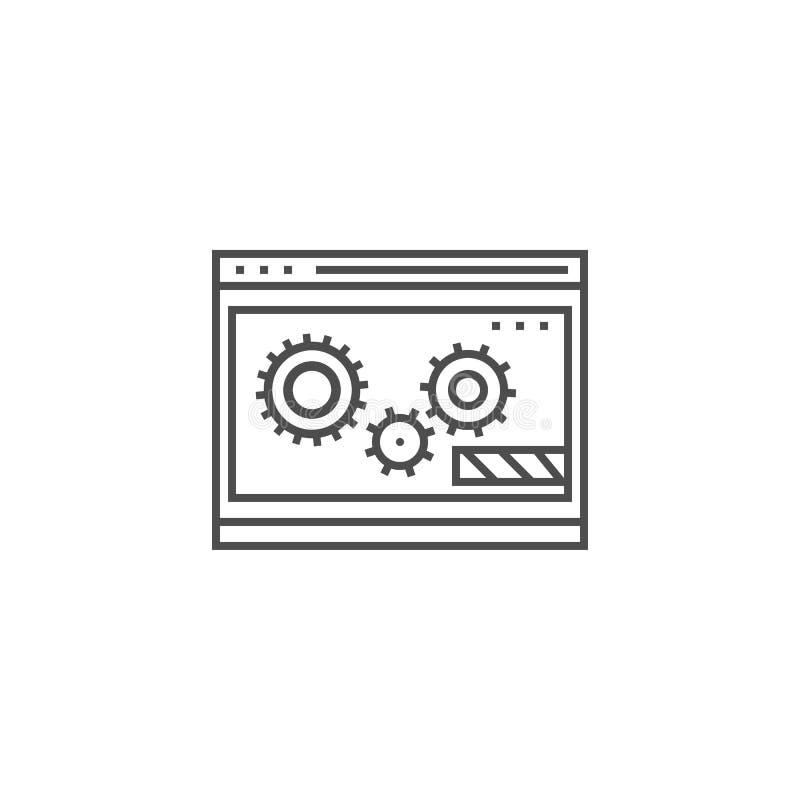 L?nea icono de la optimizaci?n del sitio web stock de ilustración