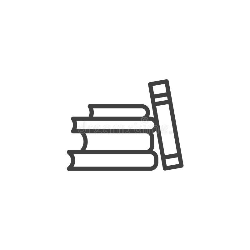 L?nea icono de la pila de libros stock de ilustración