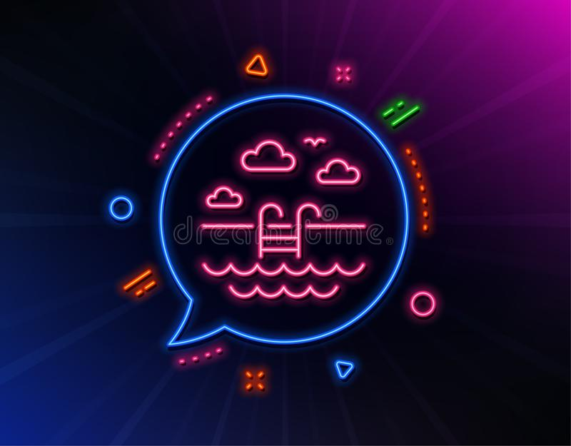 L?nea icono de la piscina Muestra al aire libre del lavabo Servicio de hotel Vector stock de ilustración