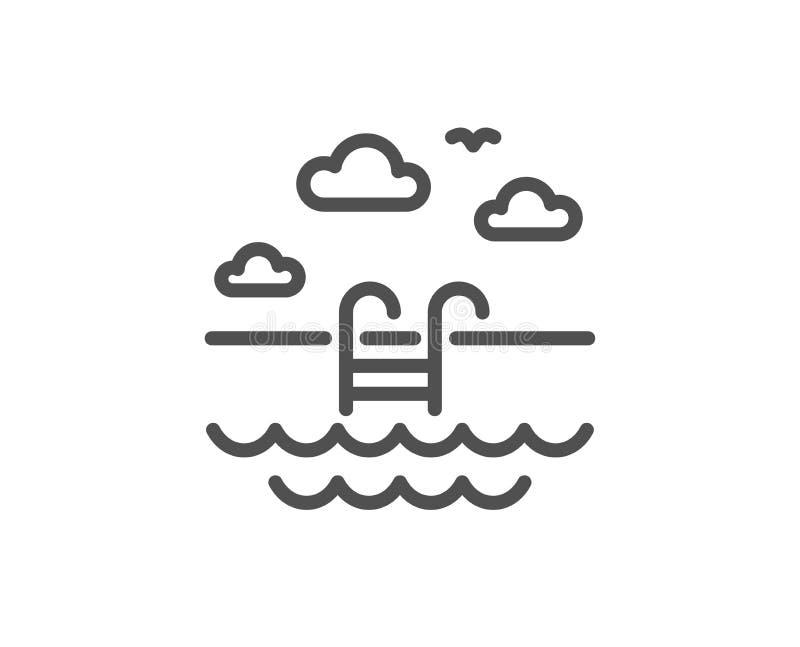 L?nea icono de la piscina Muestra al aire libre del lavabo Servicio de hotel Vector libre illustration