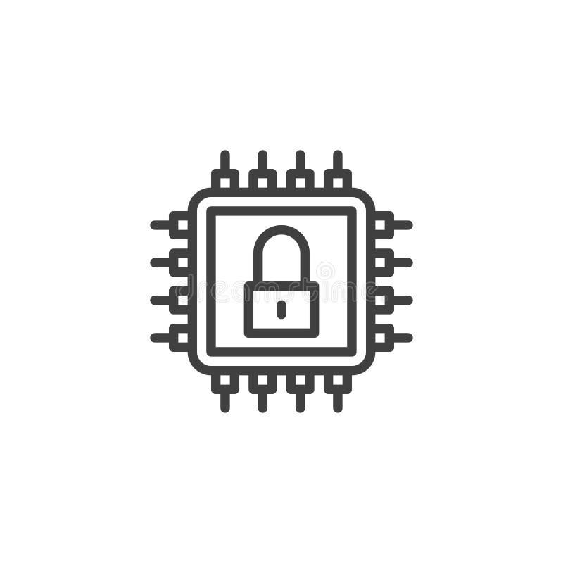 L?nea icono de la seguridad de datos ilustración del vector