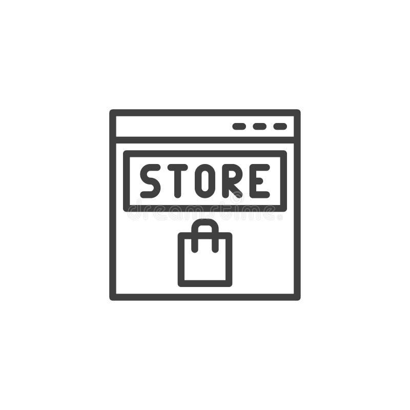 L?nea icono de la tienda en l?nea stock de ilustración