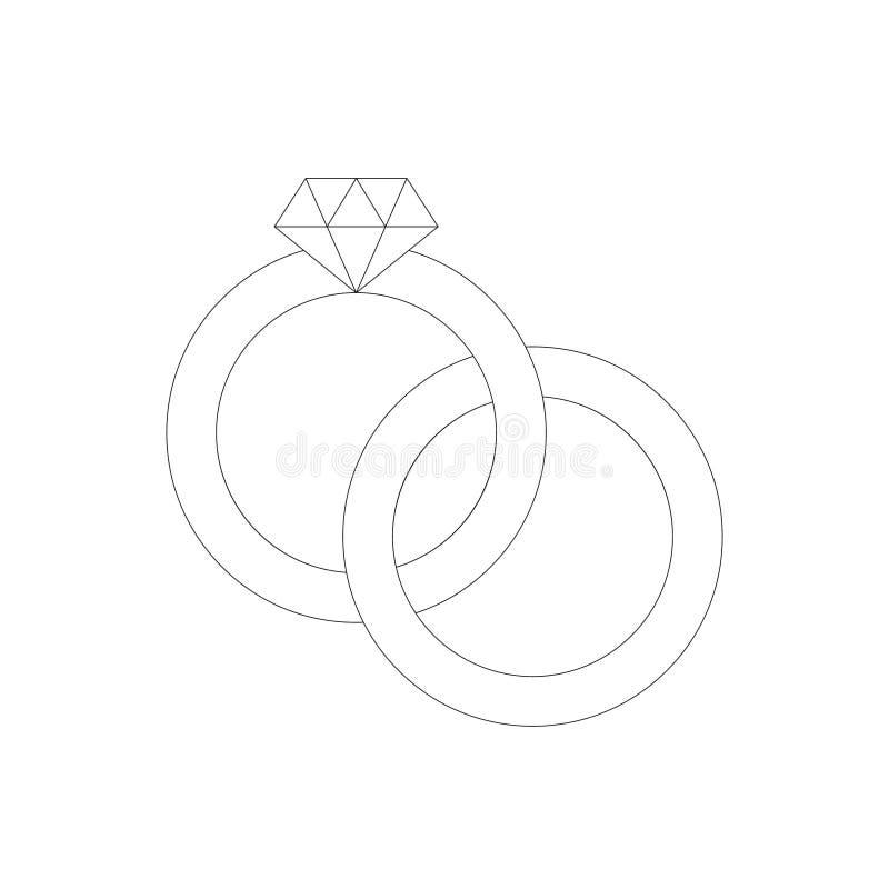 L?nea icono de los anillos de bodas ilustración del vector