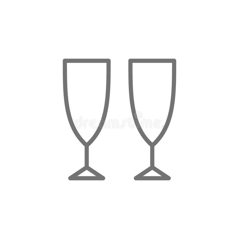 L?nea icono de los vidrios de Champ?n ilustración del vector