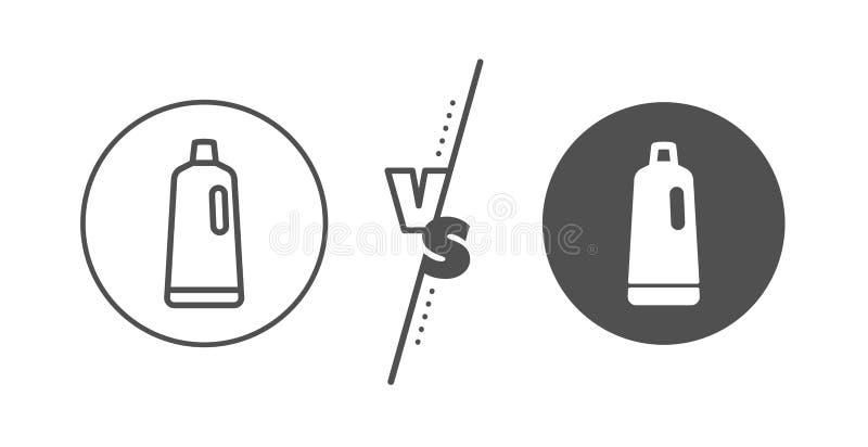 L?nea icono del champ? de la limpieza L?quido de lavado Vector ilustración del vector