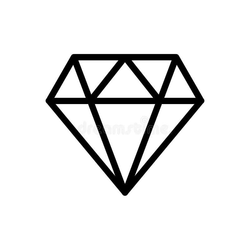 L?nea icono del diamante ilustración del vector
