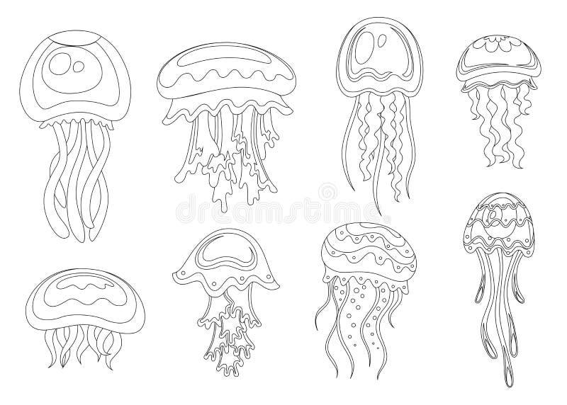 L?nea icono del estilo Fije de medusas del mar Animal subacu?tico tropical Organismo acu?tico de la medusa, dise?o del estilo de  ilustración del vector