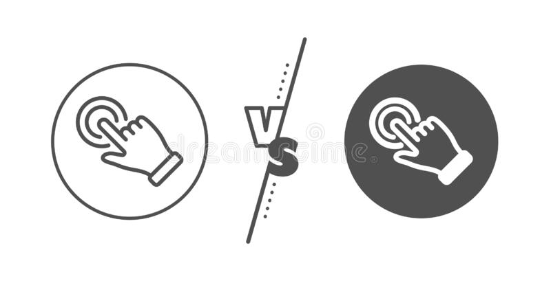 L?nea icono del gesto de la pantalla t?ctil Muestra de la mano del tecleo Acci?n del empuje Vector libre illustration
