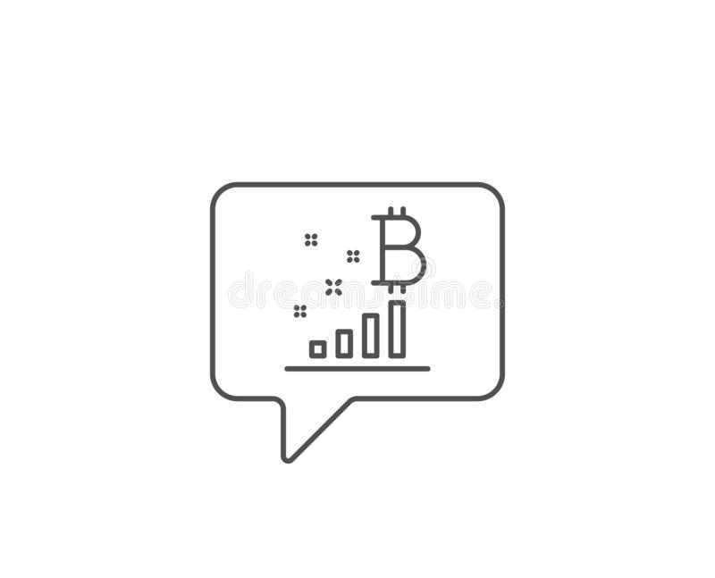 L?nea icono del gr?fico de Bitcoin Muestra del analytics de Cryptocurrency Vector stock de ilustración