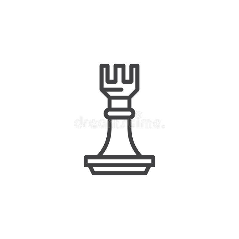 L?nea icono del grajo del ajedrez ilustración del vector
