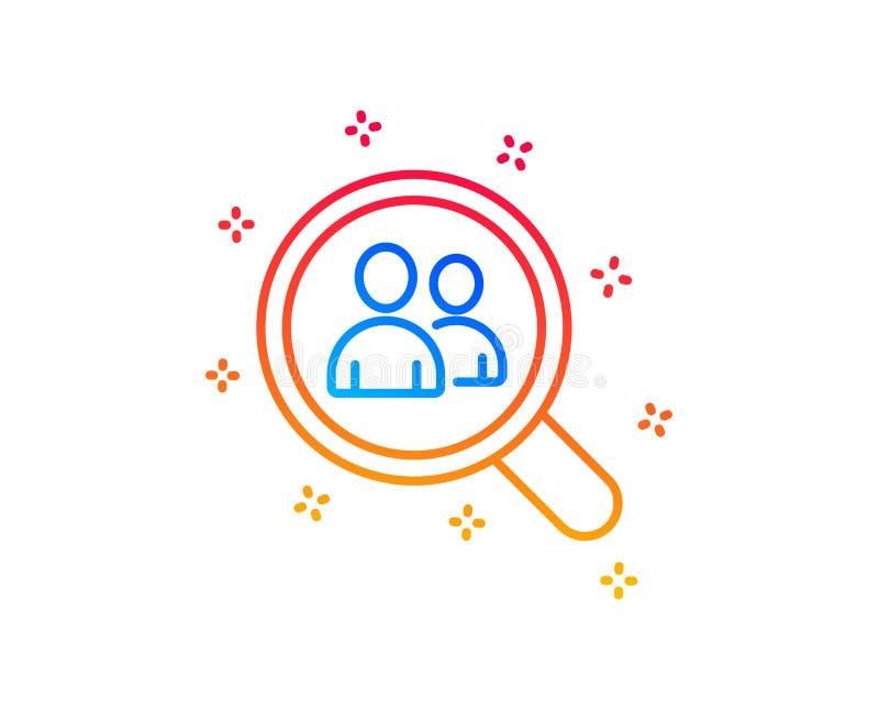 L?nea icono del reclutamiento del negocio Empleados de la b?squeda Vector ilustración del vector