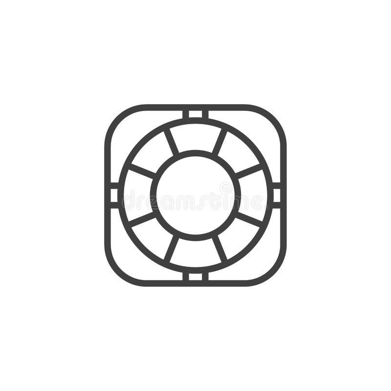L?nea icono del salvavidas ilustración del vector