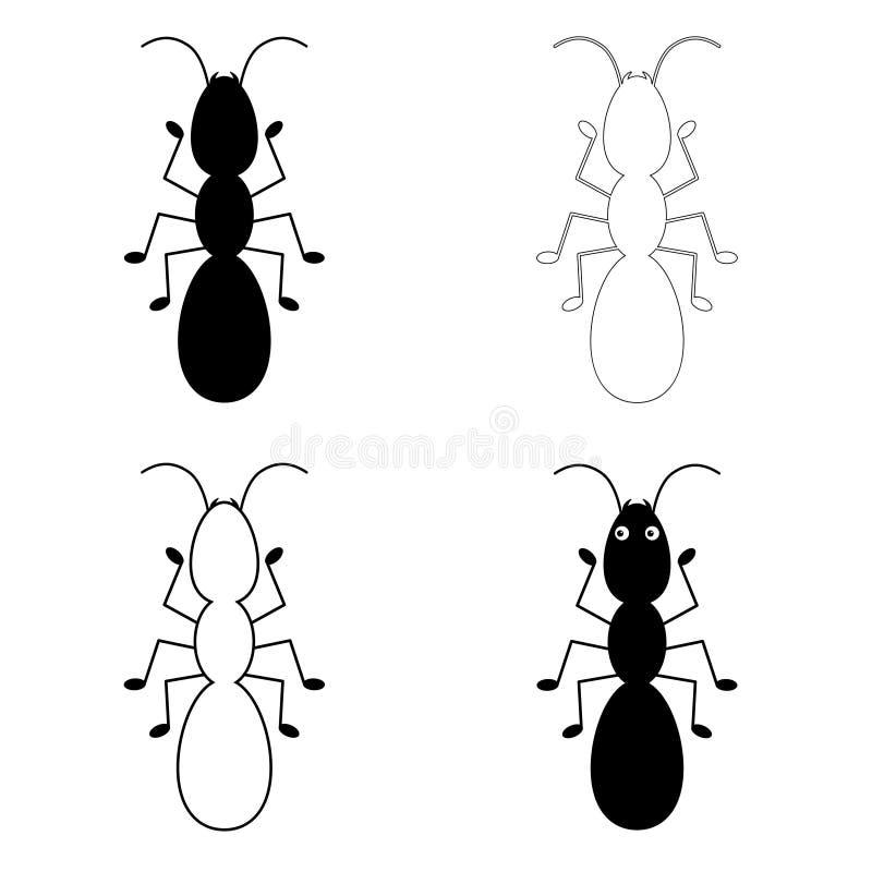 L?nea icono, muestra del vector del esquema, pictograma linear de la hormiga aislado en blanco Sistema del logotipo libre illustration