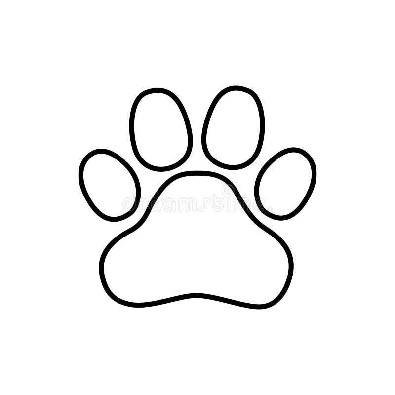 L?nea icono, muestra del vector del esquema, pictograma linear de la pata del estilo aislado en blanco stock de ilustración