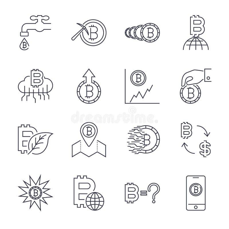 L?nea iconos de Cryptocurrency fijados Colecci?n del vector de s?mbolos finos de las finanzas de Bitcoin del esquema Movimiento E ilustración del vector