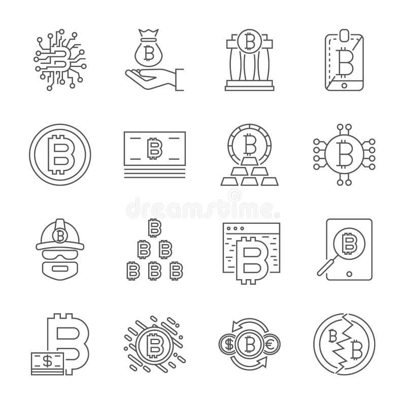 L?nea iconos de Cryptocurrency fijados Colecci?n del vector de s?mbolos finos de las finanzas de Bitcoin del esquema Movimiento E libre illustration