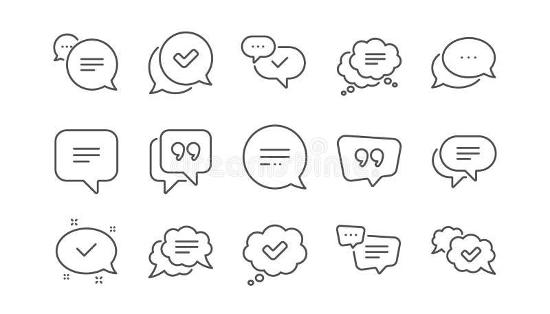 L?nea iconos de la charla y de la cita Caja aprobada, de la marca de cotejo y mensaje social de los medios Sistema linear Vector stock de ilustración