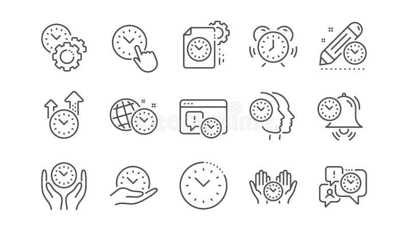 L?nea iconos de la gesti?n de tiempo Despertador, plan del contador de tiempo y plazo de proyecto Sistema linear Vector ilustración del vector